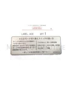 Label, ACD (Genuine) - Japanese Import Model